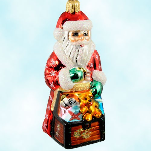 Tiny Toy Chest Santa , Radko Ornaments, 1998, 98-185-0, Presents, teddy bear, Christmas, Mint with Tag, Box