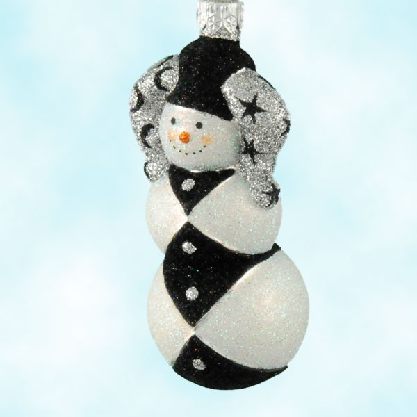 Collect this Patricia Breen Mardi Gras Harlequin black and white collectiible glass ornament snowman