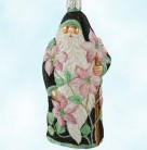 Clematis Santa - Black, Patricia Breen Christmas Ornaments, 2003, 2316, Fully glittered, Pink flowers, Mint with Tag