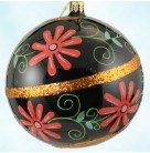 Christmas Blossoms, Radko Ornaments, 2001, 01-0342-0, Black ball, red flowers, spiraling sienna band, Mint With Tag