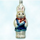 Rabbit, Blue overalls, MO251,Old World Christmas Inge Glas, Retired, Rabbit  standing in blue overalls, hands in pockets, and red bandana, Mint