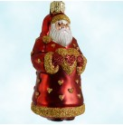 Miniature I Love You Santa - Red and Gold Matte, Patricia Breen Christmas Ornaments, 2151, 2001, Hearts, Valentine's Day, Mint With Tag