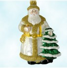 Father Christmas - Pearl Gold Trim, Patricia Breen Christmas Ornaments, 1998, 9800HCB, Historical Christmas Barn, Santa holds tree, Mint with Tag