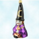 Night Magic Witch - Halloween, Christopher Radko Christmas Ornaments, 1996, 96-002-0, German, Tall hat & glitter crescent moon, Mint With Tag