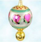 Holly Heart Bal, Radko Christmas Ornaments, 1994, 94-402-0, Valentines, Pink, Gold, Red, Green, Mint With Tag