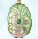 Advent Santa - Roman Numerals, Patricia Breen Christmas Ornaments, 1999, 9902, Green & Pink, Recoloration, Mint With Tag