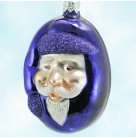 Jelly Bean Santa- Shiny Purple, Patricia Breen Christmas Ornaments, 2000, 9916, Purple glitter trim, Easter, Mint with Tag Signed