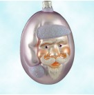 Jelly Bean Santa - Lavender Matte, Patricia Breen Christmas Ornaments, 2000, 9916, Lavender glitter trim, Easter, MWT Signed