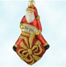 For You Henry - Red & Gold, Patricia Breen Christmas Ornaments, 2000, B2013, 2013, Santa Claus, present & tag, glitter, Mint With Tag