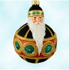 Hollstrom Santa - Black, Patricia Breen Christmas Ornaments, 2003, 2222, FG, Black ball, gold, red & green, Mint With Tag