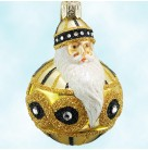 Miniature Hollstrom Santa - Gold, Patricia Breen Christmas Ornaments, 2003, 2301, Retired, Bejeweled Ball, Mint