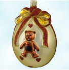 Casey's Egg - Hearts, Patricia Breen Christmas Ornaments, 1999, 9900NM, Neiman Marcus, Easter teddy bear, Mint With Tag