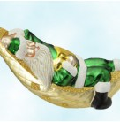 A Respite for Santa - Green Matte, Patricia Breen Christmas Ornaments, 1997, B9733, 9733, hammock, Mint With Tag