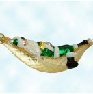 A Respite for Santa - Green Matte, Patricia Breen Christmas Ornaments, 1997, 9733, Hammock, sleeping, Mint With Tag