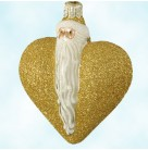 Santa Du Coeur - Gold, Patricia Breen Christmas Ornaments, 2000, 2034, Santa heart, Fully Glittered, Valentine's Day, Mint