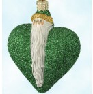 Santa Du Coeur - Green, Patricia Breen Christmas Ornaments, 2000, 2034, Heart, Valentines & St. Patricks, Mint With Tag