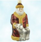 Just What I Wanted - Bordeaux, Patricia Breen Christmas Ornaments, 1999, 9825, Santa & dog, red & gold, Mint