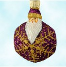 Snowflake Noel Santa - Fuchsia, Patricia Breen Christmas Ornaments, 2002, B2257, Purple & gold snowflake, Mint with Tag