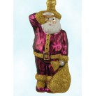 A Santa for Thomas - Fuchsia, Patricia Breen Christmas Ornaments, 1999, 9741, recoloration, gold glitter, Mint with Tag