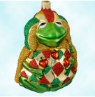 Yorick Frog - Gold Glittered Cape, Patricia Breen Christmas Ornaments, 2000, 2046, Variant, red & green, apples, Mint With Tag