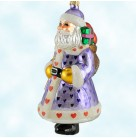 Candy Santa, Purple, Radko Christmas Ornaments, 1998, 98-301-0, Santa in coat, glitter hearts, Star wand, gifts,  Christopher, Mint With Tag