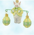 Bunny Balance - Daisies, Patricia Breen Christmas Ornaments, 2008, 2808, Select Retailer Ltd 110, Easter & eggs, Mint With Tag