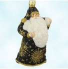 Snowball Santa - Black, Patricia Breen Christmas Ornaments, 2002, 2256, Selected Retailer Ltd 120, Gold glitter snowflakes, Mint with Tag Signed