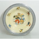Childrens bowl -  Uncle Wiggily, Faberware, 1924, Cream ceramic plate, Walking with Grandpa Goosey Gander, Excellent