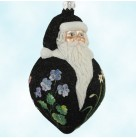 Poeticus Santa - Black, Patricia Breen Christmas Ornaments, 2000, B2035, Neiman Marcus Store exclusive, fully glittered, flowers, Mint with Tag
