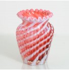 Vase - Cranberry & Opalescent Swirls, Fenton, 1950s, Flared top with swirl design, 5 inches tall, Excellent