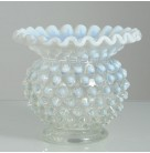 Vase or Rose Bowl, Fenton, Vintage, French Opalescent hobnail, 4 inches tall by 4 1/2 inches wide