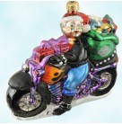 Special Delivery Mrs. Claus, Radko Christmas Ornaments, Harley Davidson, 1999, 99-HAR-02, Motorcycle, bike, Mint with Tag, Box
