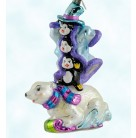 Polar Pranksters, Radko Ornaments, 2005, 1011686, 20th anniversary, Three penquins riding on racing polar bear, Christmas, Mint with Tag