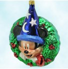 Mickey Sorcerer Apprentice Wreath - Disney, Radko Christmas Ornaments, 2000, 00-DIS-11, Millennium, Wizard, Mint with Tag, Box