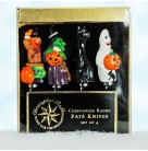 Pate Knives - Halloween, Christopher Radko, 1999, 99-660-0, Set of 4, witch, Jack O' Lantern, black cat, ghost, Mint in Box