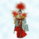 Miss Christmas, Radko Christmas Ornament, 2000, 00-316-0, Italian, red and green dress, banner, feathers, lady, Mint with Tag, Box