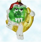 M&M's - I'm Green, Kurt Adler Polonaise Christmas Ornaments, AP 1475, Santa hat, crossed legs, white boots (M & M's), Mint with Tag, Box