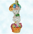 Bunny Basket Bonanza - Easter Bunny Rabbit, Christopher Radko Christmas Ornaments, 2002, 02-0413-0, Hold up eggs, Mint With Tag