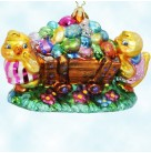 Egg Cart'in, Christopher Radko Christmas Ornaments, 1010077, 2002, Easter Eggs, Two chicks push brown wooden cart full of Easter Eggs, Mint with Tag, Box