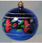 Giverny Gardens Ball - Blue with Red Flowers, 2002, 02-0137-0, Fantasia Series Set of 6, Mint with Tag, Box