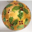 Holly Grove Ball - Shiny, Radko Christmas Ornament, 2001, 0100350, Gold, holly berry clusters, Asst 2, Mint with Tag