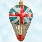 Union Jack Balloon, Radko Christmas Ornaments, 1996, 96-256-0, 2 Tier, Wire cage, British flag, Mint with Tag, Box