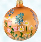 English Garden Ball, Radko Christmas Ornament, 1996, 96-199-0, Gold & orange blend, wild flowers, Spring, Mint with Tag Sealed