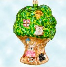 Petite Happy Hideaway, Radko Christmas Ornament, 2001, 01-0608-0, Peter Rabbits, tree house, Mint with Tag