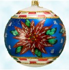Snow Blossom Ball, Radko Ornaments, 2001, 01-0093-0, Poinsettia, blue, snowflakes, Christmas, Mint with Tag