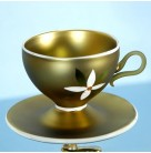 Sips & Saucers, Radko Christmas Ornament, 2001, 01-0993-0, Italian, clip on, floral, gold tea cup, Mint in Box