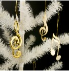 Musical Note, Vintage Christmas Ornaments, 1970s, Set of 5, Plastic & Metal, treble clef & reindeer ornaments, Very good vintage condition