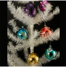 Boxed Set of 5 Vintage Italian Unbreakable Ball Christmas Ornaments, Vintage Christmas Ornaments, Pre- War II, Retired Made in Italy Christmas Ornaments, Excellent vintage condition