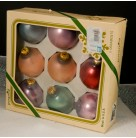 Vintage Boxed Set of 8 Glass Ornaments, Pyramid Christmas Ornaments, 1960s, Made in USA in Original Box, Excellent vintage condition