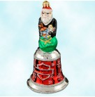 Harley Davidson Bell, Radko Christmas Ornaments, 2002, 02-HAR-01, Santa, motorcycle, Red with logo, Christopher, Mint with Tag, Box